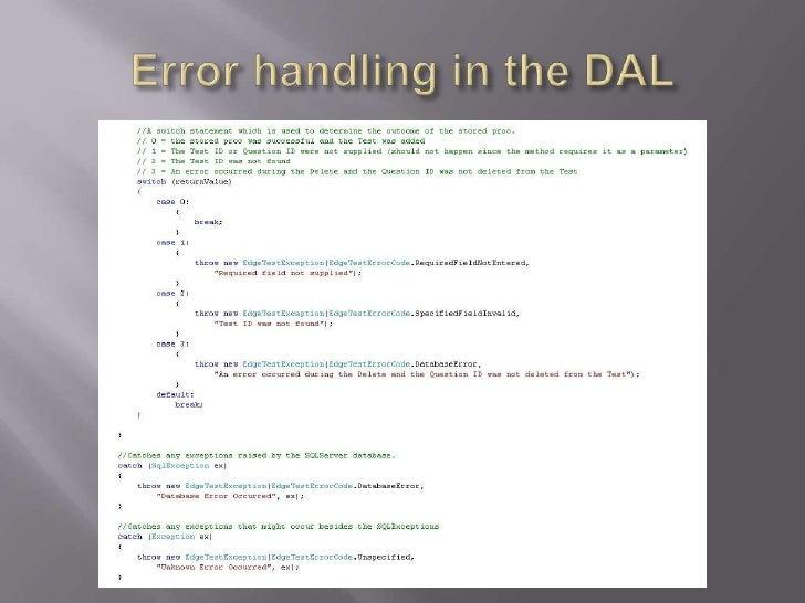 Error handling in the DAL<br />