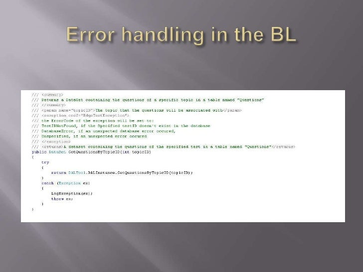 Error handling in the BL<br />