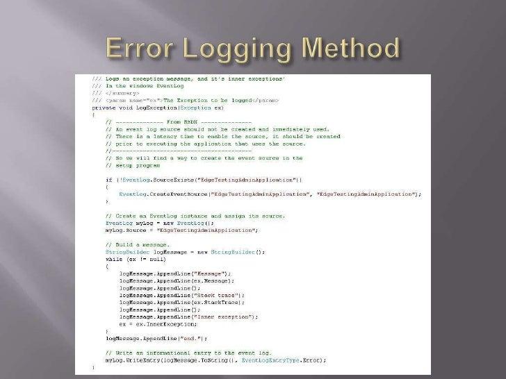 Error Logging Method<br />