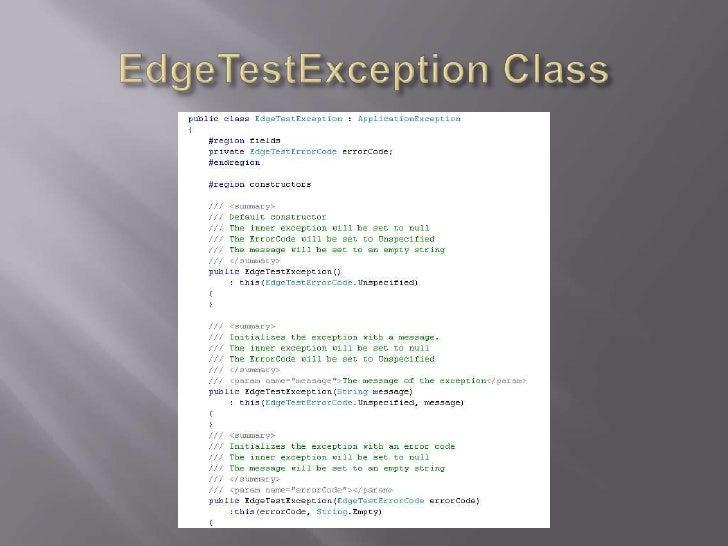 EdgeTestException Class<br />