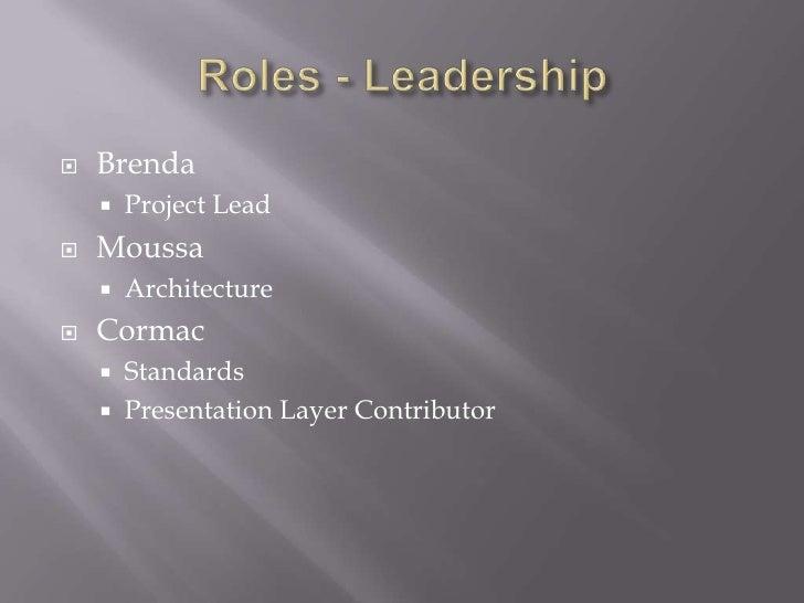 Roles - Leadership<br />Brenda<br />Project Lead<br />Moussa <br />Architecture<br />Cormac<br />Standards<br />Presentati...