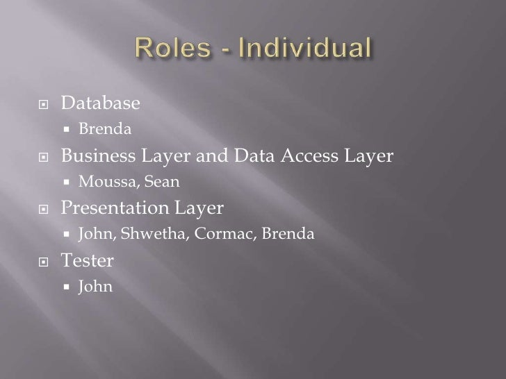Roles - Individual<br />Database<br />Brenda<br />Business Layer and Data Access Layer<br />Moussa, Sean<br />Presentation...
