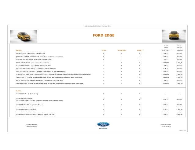 Ford Edge listino 2016 Slide 3