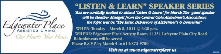 """""""LISTEN & LEARN"""" SPEAKER SERIES You are cordially invited to attend """"Listen & Learn"""" for March. The guest speaker     will..."""