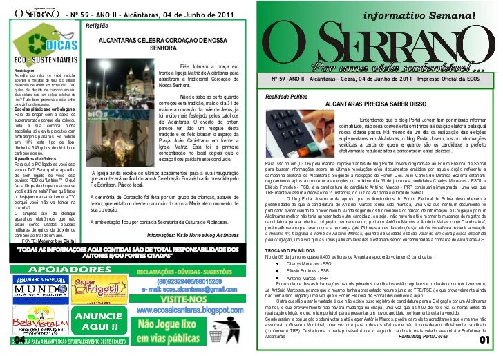 - Nº 59 – ANO II - Alcântaras, 04 de Junho de 2011                                        Religião                        ...