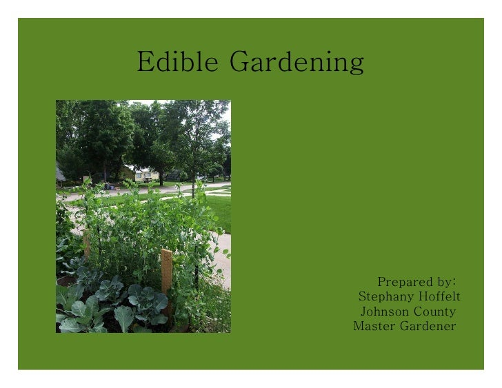 Edible Gardening Prepared by:  Stephany Hoffelt Johnson County  Master Gardener