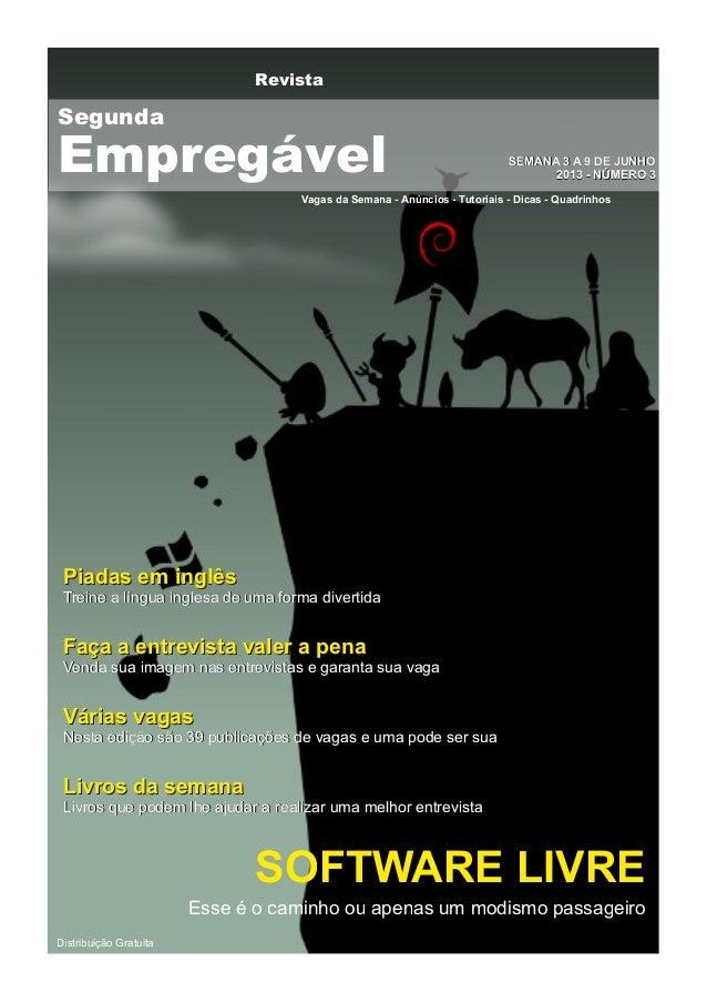 RevistaVagas da Semana - Anúncios - Tutoriais - Dicas - QuadrinhosSSEEMMAANNAA 33 AA 99 DDEE JJUUNNHHOO22001133 -- NNÚÚMME...