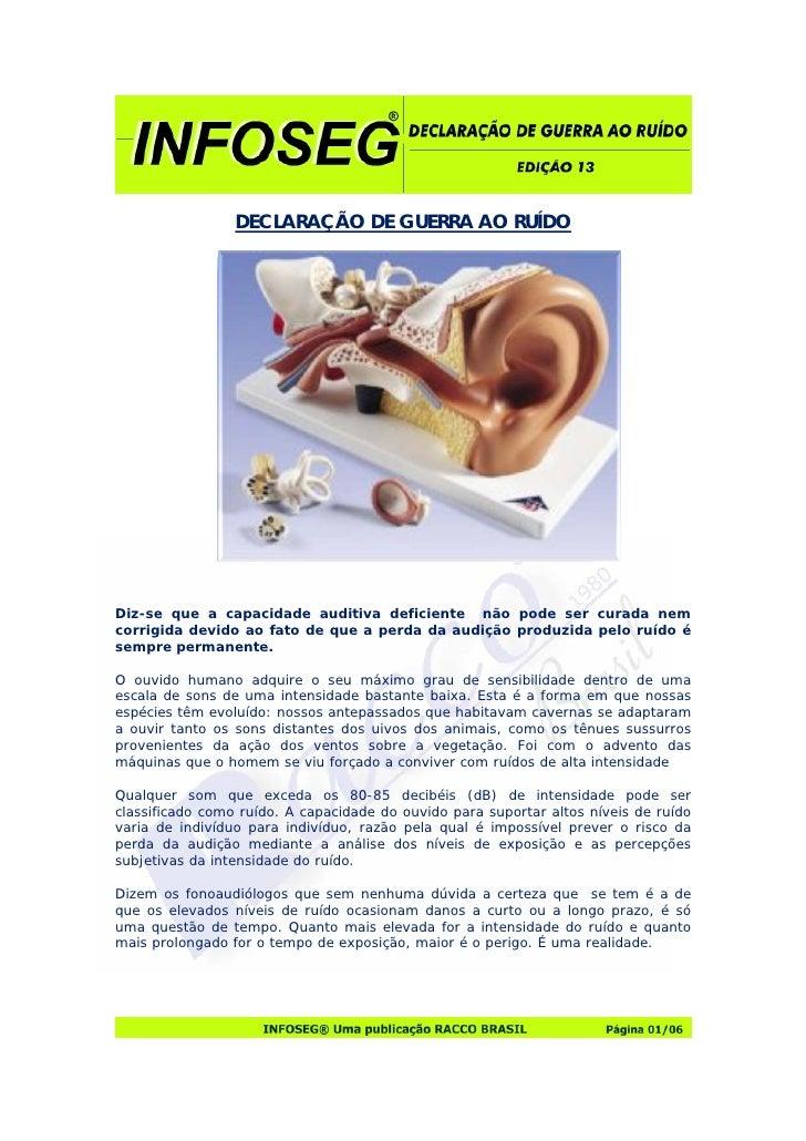 DECLARAÇÃO DE GUERRA AO RUÍDO     Diz-se que a capacidade auditiva deficiente não pode ser curada nem corrigida devido ao ...