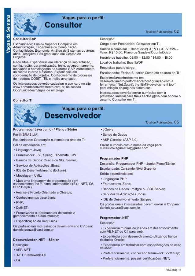 VagasdaSemana RSE pág 11 Programador Java Junior / Pleno / Sênior Perfil (BRASÍLIA): Escolaridade: Graduação cursando na á...