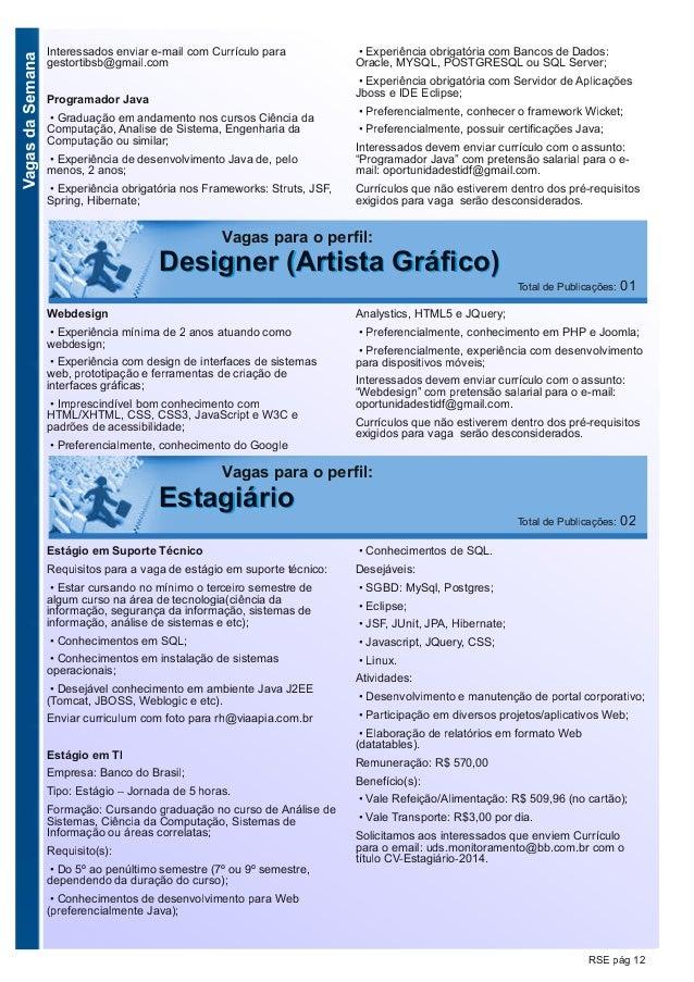 VagasdaSemana RSE pág 12 Vagas para o perfil: EEssttaaggiiáárriioo Total de Publicações: 02 Estágio em Suporte Técnico Req...