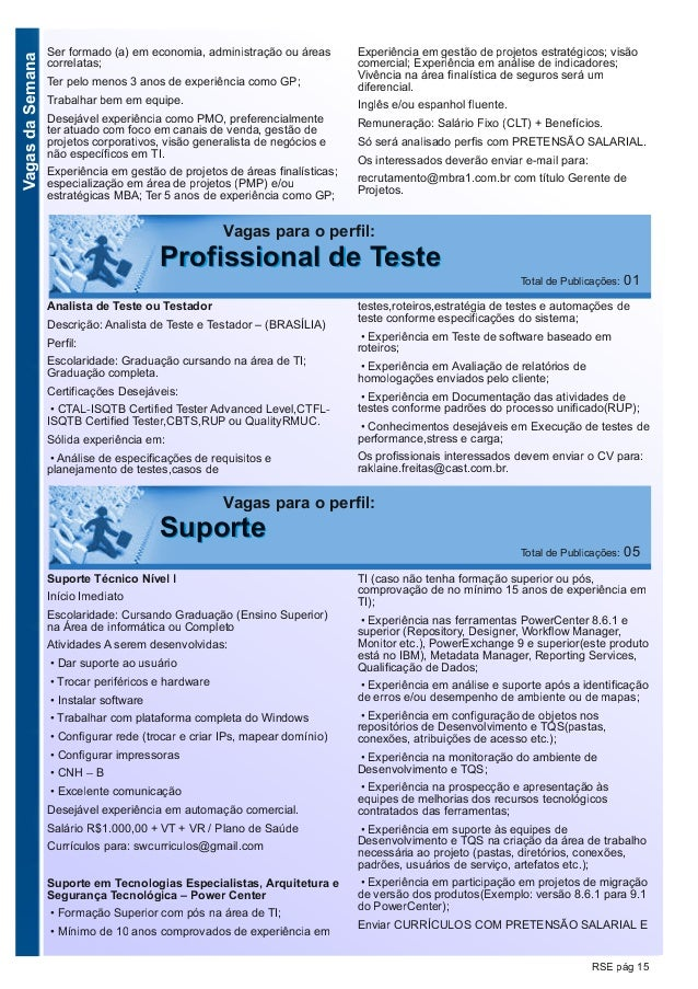 VagasdaSemana RSE pág 15 Vagas para o perfil: PPrrooffiissssiioonnaall ddee TTeessttee Total de Publicações: 01 Analista d...