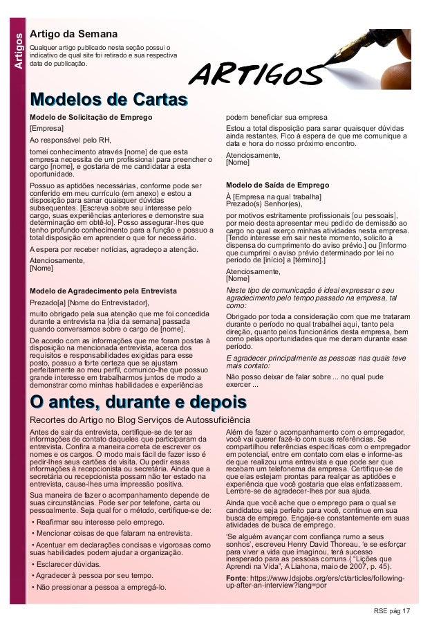 Artigos RSE pág 17 MMooddeellooss ddee CCaarrttaass Artigo da Semana Qualquer artigo publicado nesta seção possui o indica...