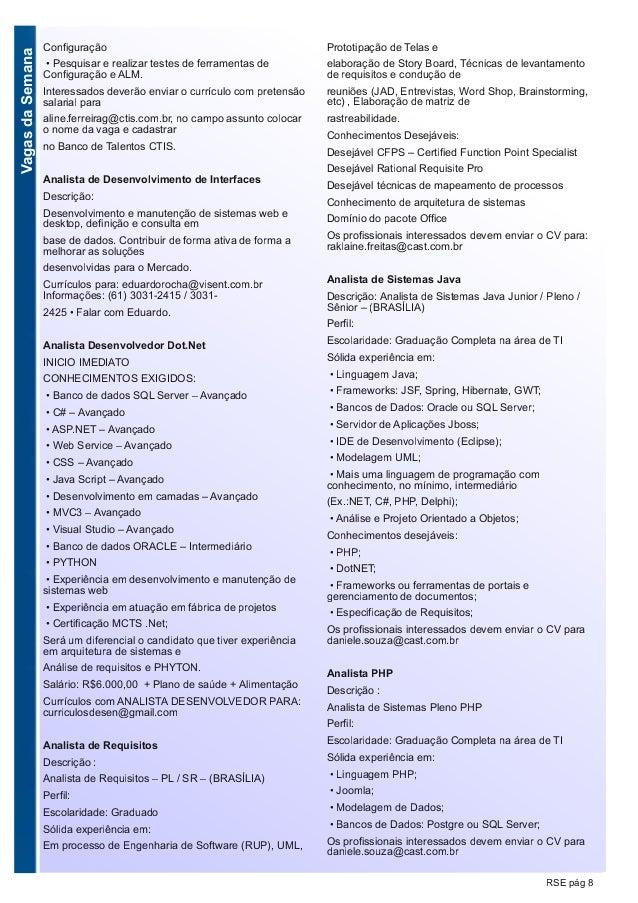 VagasdaSemana RSE pág 8 Configuração • Pesquisar e realizar testes de ferramentas de Configuração e ALM. Interessados deve...
