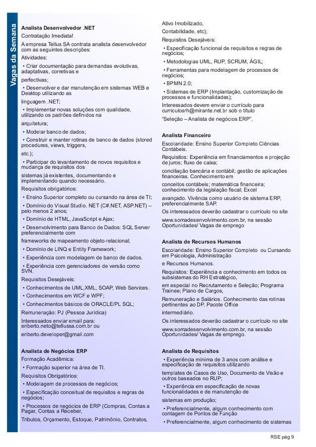 VagasdaSemana RSE pág 9 Analista Desenvolvedor .NET Contratação Imediata! A empresa Tellus SA contrata analista desenvolve...