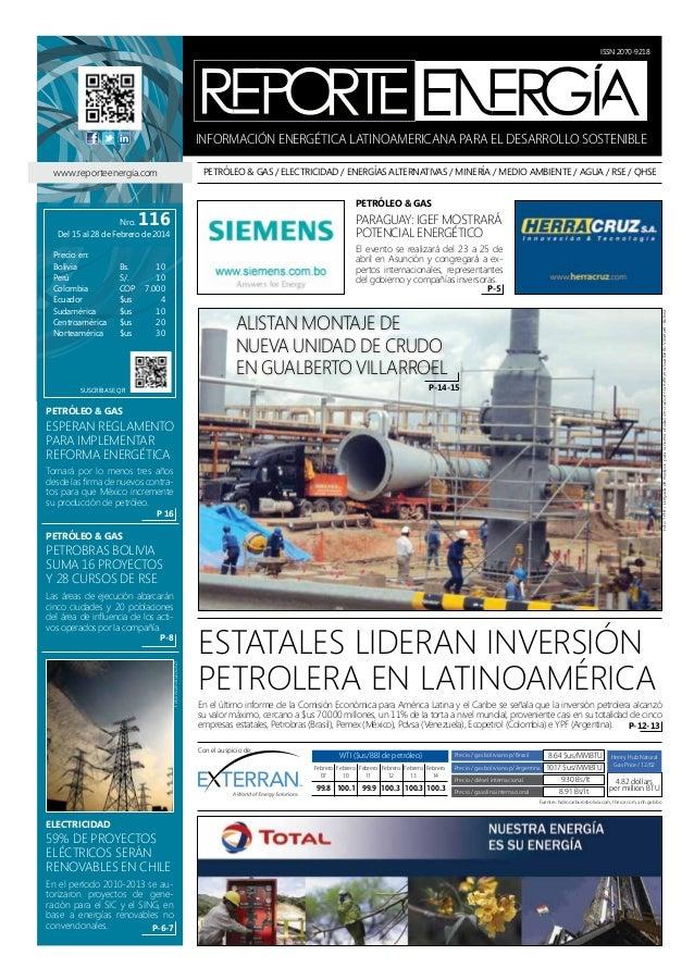ISSN 2070-9218  INFORMACIÓN ENERGÉTICA LATINOAMERICANA PARA EL DESARROLLO SOSTENIBLE PETRÓLEO & GAS / ELECTRICIDAD / ENERG...