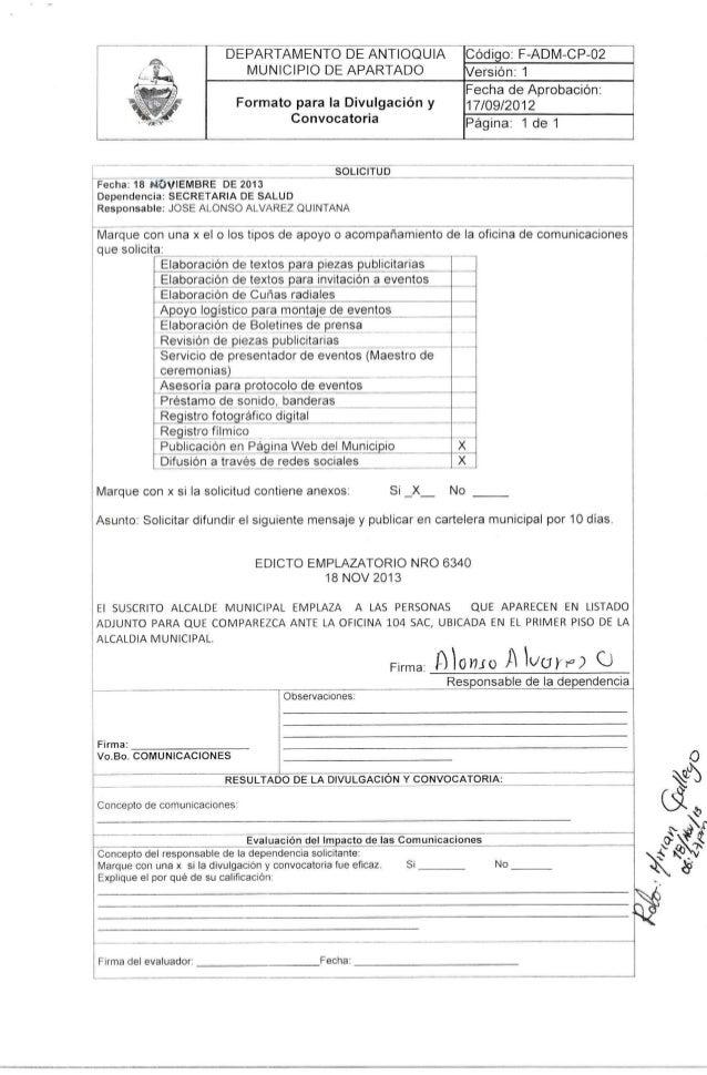 EDICTO EMPLAZATORIO NRO 6340 DEL18 NOV 2013