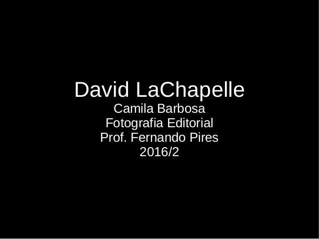 David LaChapelle Camila Barbosa Fotografia Editorial Prof. Fernando Pires 2016/2