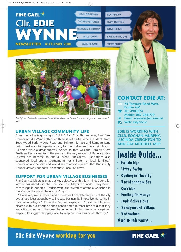 Edie Wynne_AUTUMN 2010         04/10/2010        10:48     Page 1          Cllr. EDIE      WYNNE      NEWSLETTER AUTUMN 20...