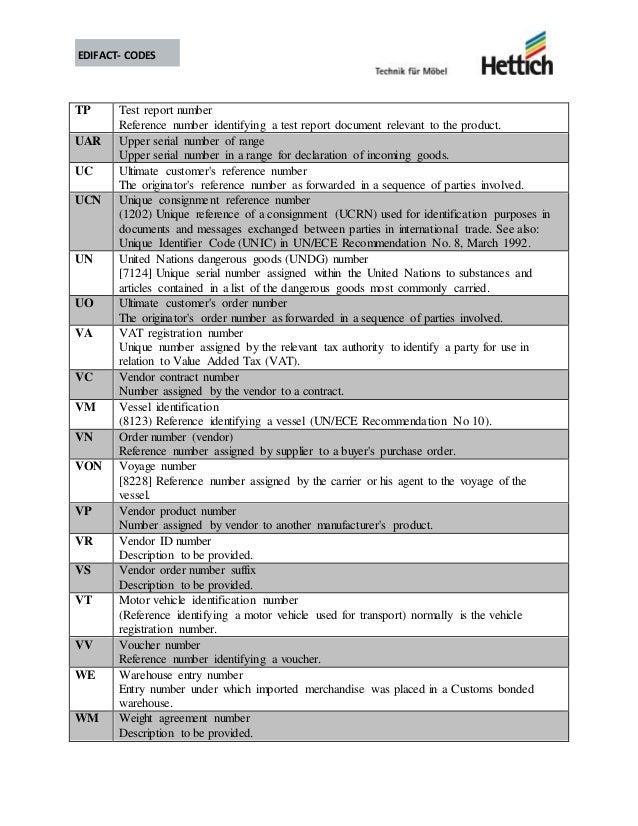 Edifact codes