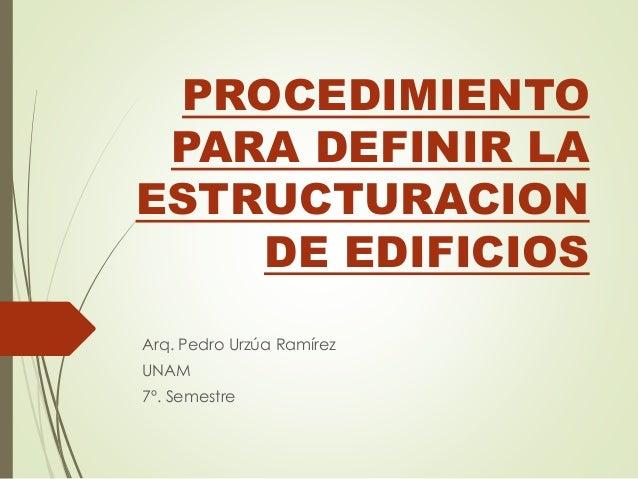 PROCEDIMIENTO PARA DEFINIR LA ESTRUCTURACION DE EDIFICIOS Arq. Pedro Urzúa Ramírez UNAM 7º. Semestre