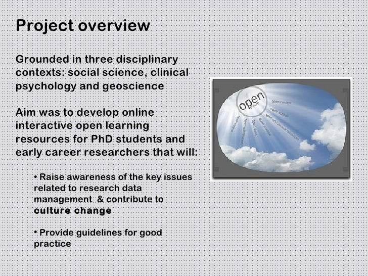 Project overviewGrounded in three disciplinarycontexts: social science, clinicalpsychology and geoscienceAim was to develo...