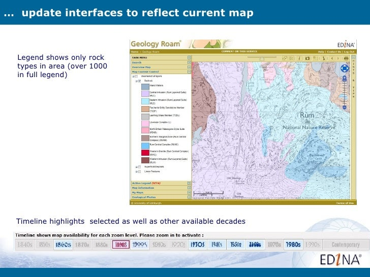 … update interfaces to reflect current map  Legend shows only rock  types in area (over 1000  in full legend)  Timeline hi...