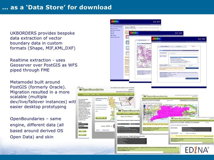 … as a 'Data Store' for download  UKBORDERS provides bespoke  data extraction of vector  boundary data in custom  formats ...
