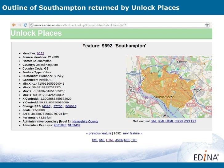 Outline of Southampton returned by Unlock Places