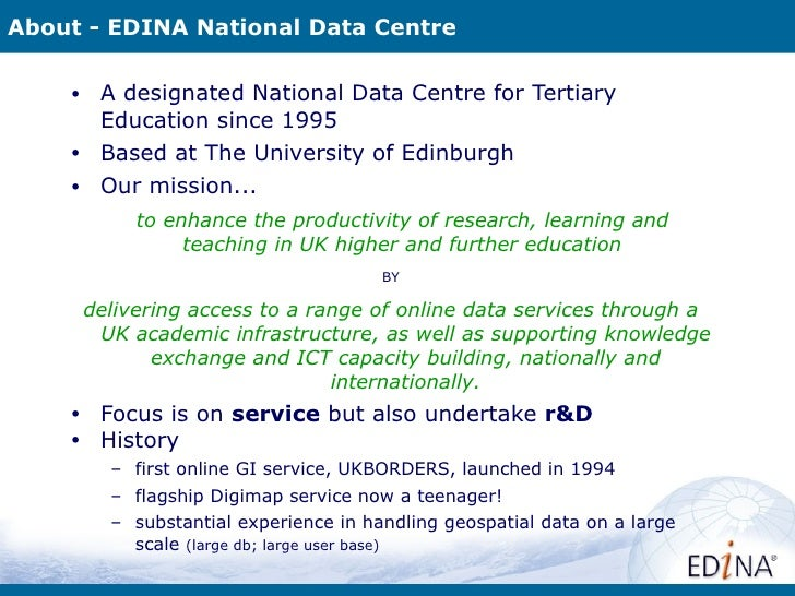 Geoservices Activities at EDINA Slide 2