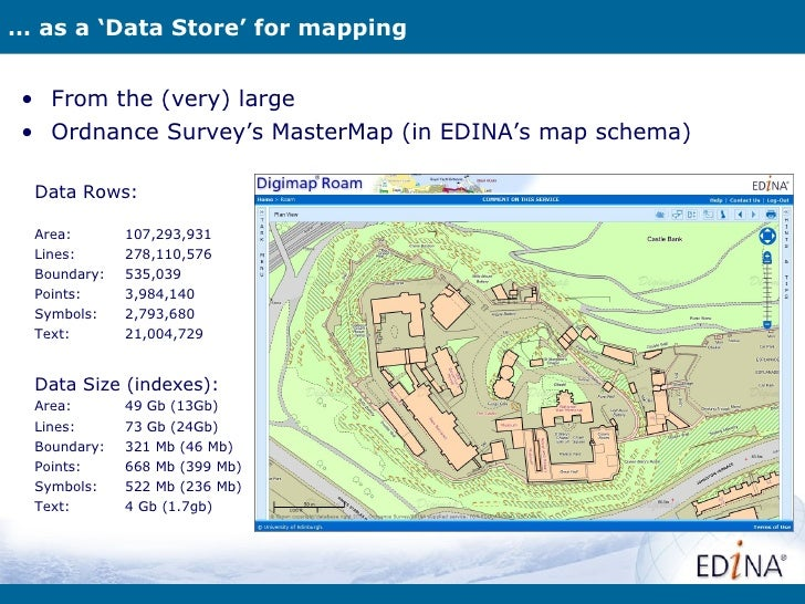 … as a 'Data Store' for mapping • From the (very) large • Ordnance Survey's MasterMap (in EDINA's map schema)  Data Rows: ...