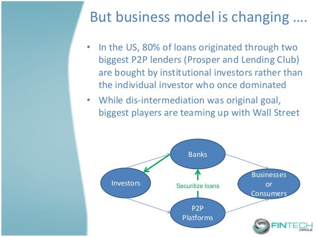 But business model is changing ….  •In the US, 80% of loans originated through two biggest P2P lenders (Prosper and Lendin...