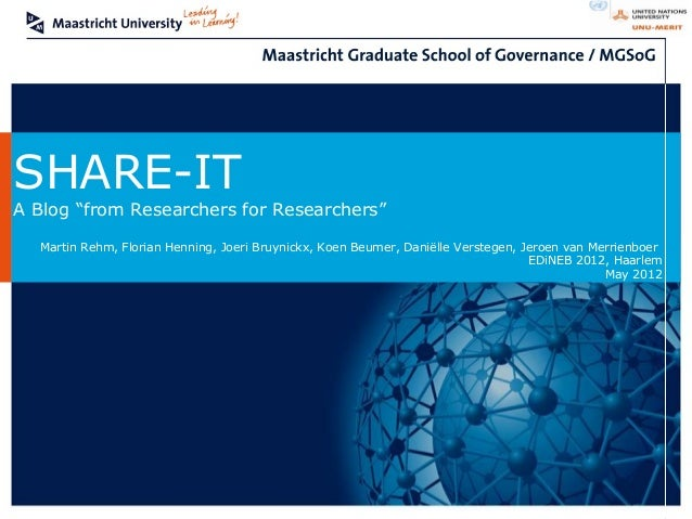 "SHARE-ITA Blog ""from Researchers for Researchers""  Martin Rehm, Florian Henning, Joeri Bruynickx, Koen Beumer, Daniëlle Ve..."
