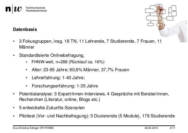 Datenbasis • 3 Fokusgruppen, insg. 18 TN, 11 Lehrende, 7 Studierende, 7 Frauen, 11 Männer • Standardisierte Onlinebefragun...