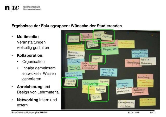 30.04.2015 Ergebnisse der Fokusgruppen: Wünsche der Studierenden • Multimedia: Veranstaltungen vielseitig gestalten • Koll...
