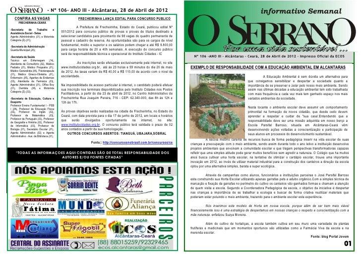 - Nº 106– ANO III - Alcântaras, 28 de Abril de 2012   CONFIRA AS VAGAS                                     FRECHEIRINHA LA...