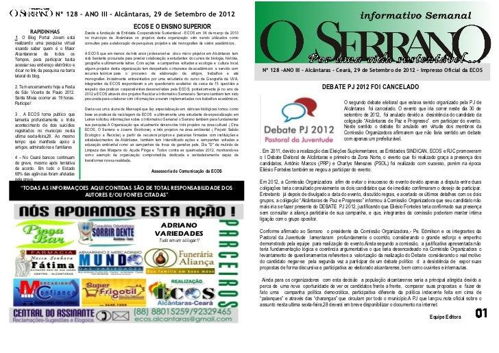 Nº 128 – ANO III - Alcântaras, 29 de Setembro de 2012                                                                   EC...