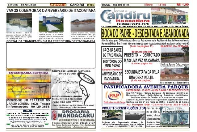 ITACOATIARA - 25 DE ABRIL DE 2015 PG 12 PANIFICADORA AVENIDA PARQUE ITACOATIARA, 25 DE ABRIL DE 2015 Av. Parque, 609 - Cen...