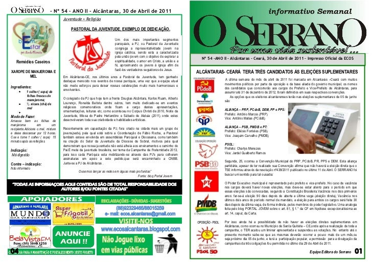 - Nº 54 – ANO II - Alcântaras, 30 de Abril de 2011                                     Juventude + Religião               ...