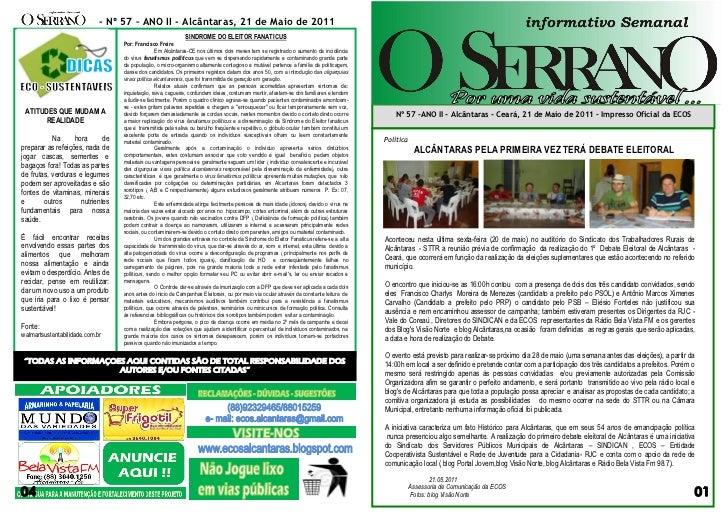 - Nº 57 – ANO II - Alcântaras, 21 de Maio de 2011                                                             SINDROME DO ...