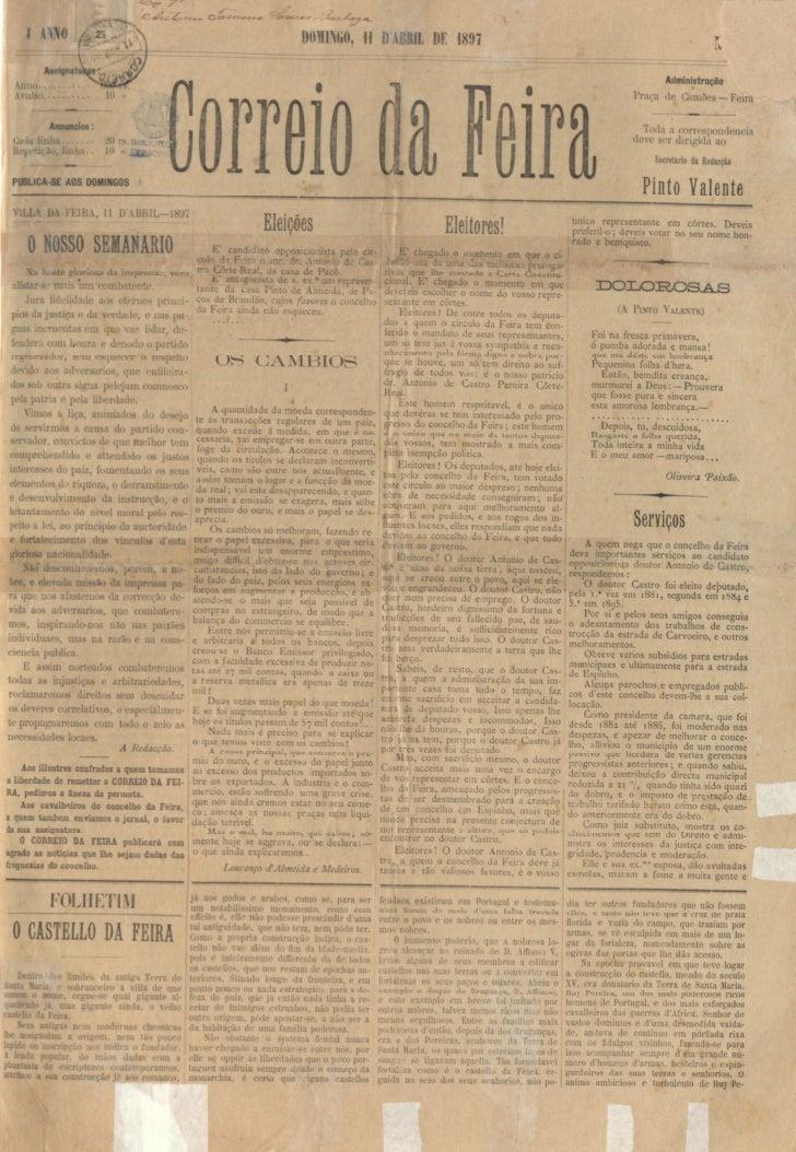 Edição número um do jornal correio da feira 11 de abril de 1897