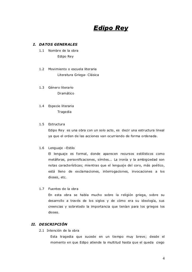 Edipo Rey  I. DATOS GENERALES    1.1   Nombre de la obra                Edipo Rey      1.2   Movimiento o escuela literari...