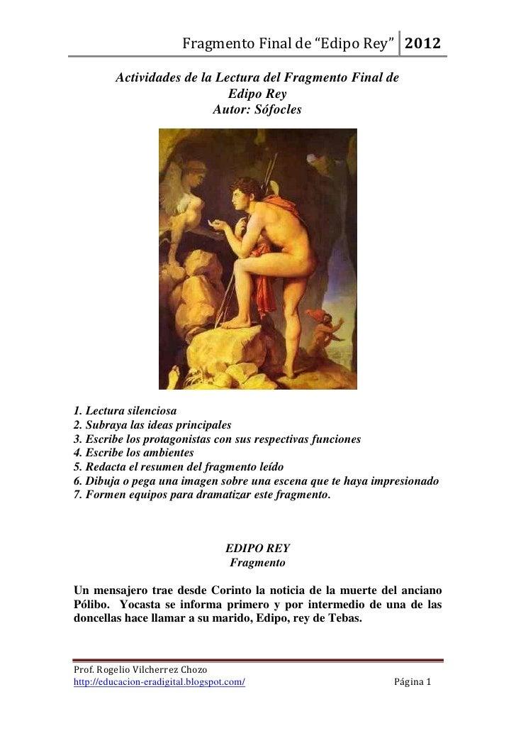 """Fragmento Final de """"Edipo Rey"""" 2012          Actividades de la Lectura del Fragmento Final de                             ..."""