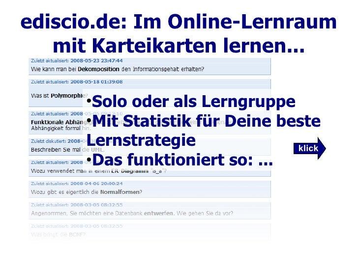 ediscio.de: Im Online-Lernraum    mit Karteikarten lernen...        ●        Solo oder als Lerngruppe       ●        Mit S...