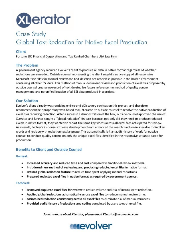 case study global text redaction for native excel production