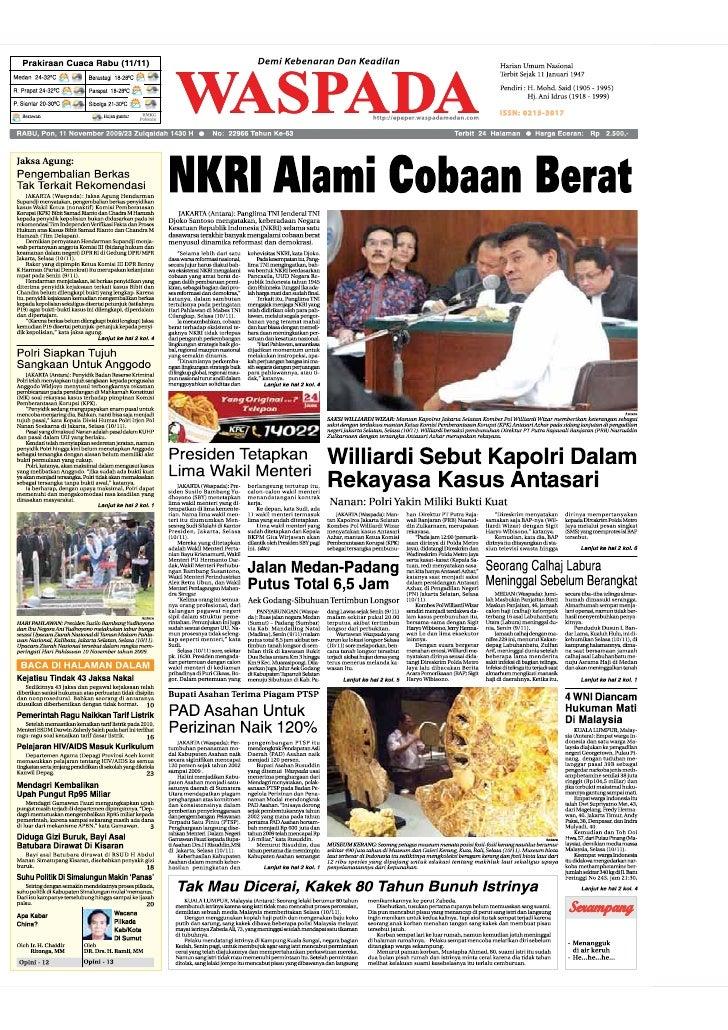 WASPADA  Kamis  12 November 2009                                                                                          ...