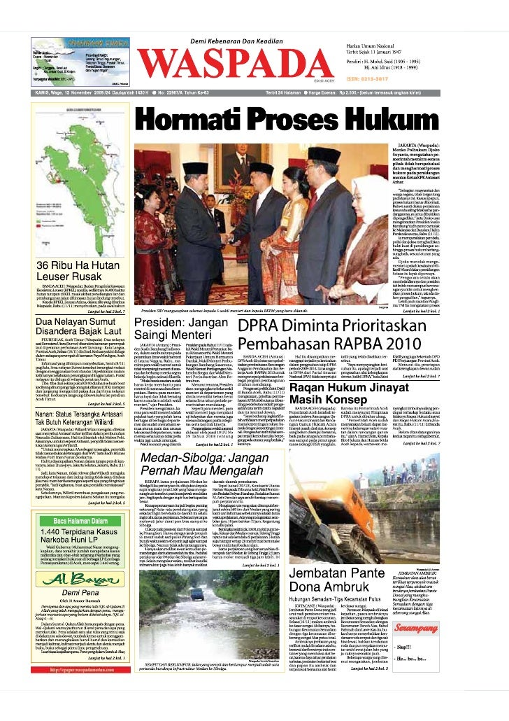 WASPADA  Jumat  13 November 2009                                                                                          ...