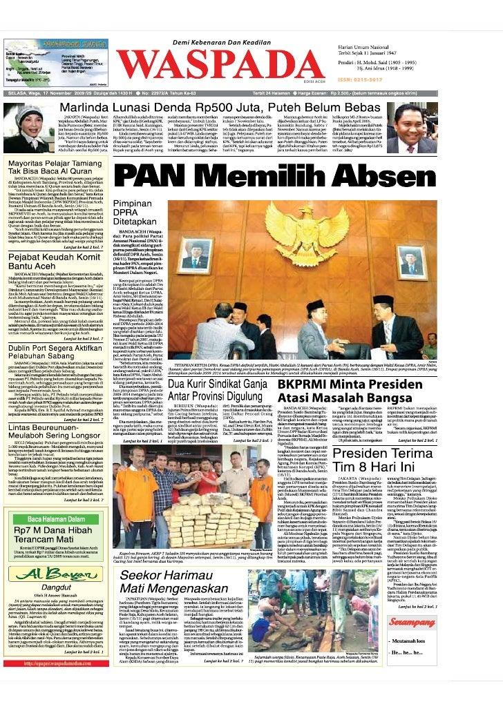WASPADA  Selasa  17 November 2009                                                                                         ...