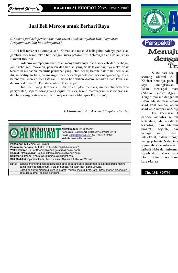 Bahtsul Masa`il                      BULETIN AL KHOIROT 20/Vol. 02/Juni/2009                                              ...