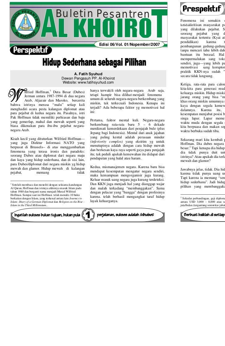 BULETIN AL KHOIROT Edisi 06/Vol. 01/Nopember/2007                                                                 BULETIN ...