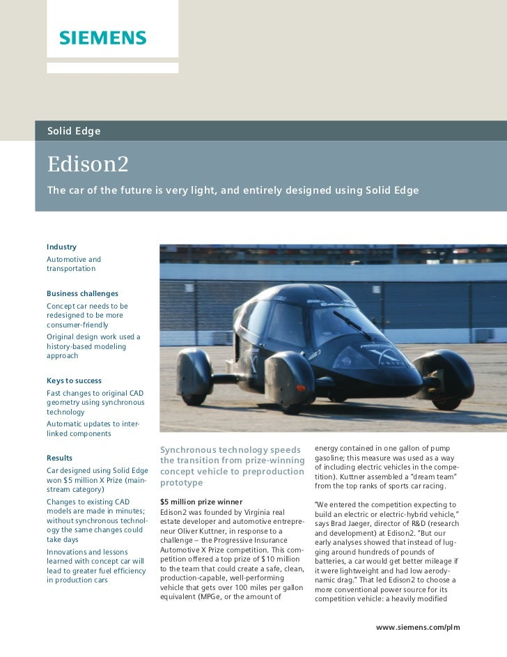 Solid EdgeEdison2The car of the future is very light, and entirely designed using Solid EdgeIndustryAutomotive andtranspor...
